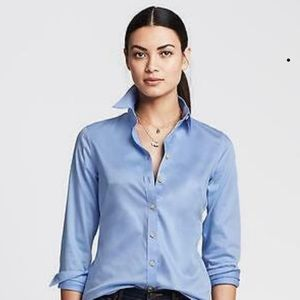 Women's non iron sateen fitted button down